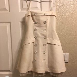 Sailor-inspired strapless dress by BCBGMaxazria.